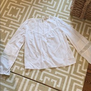 H&M white eyelet and lace top size 0